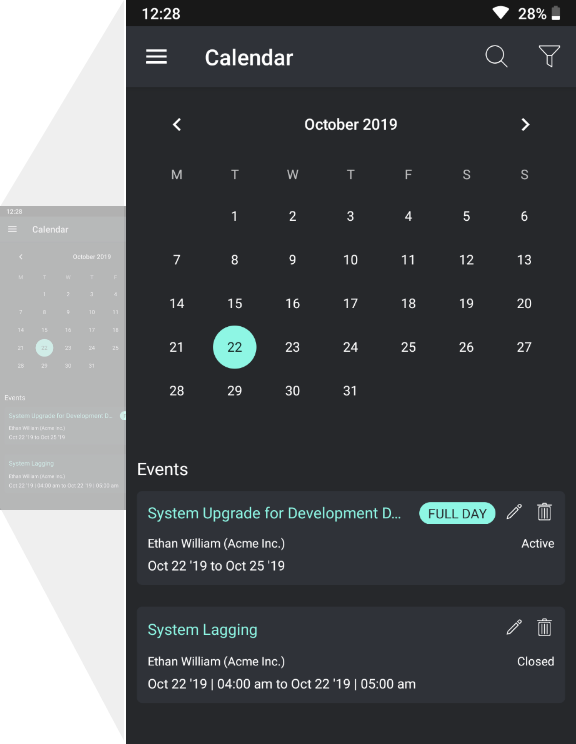 Gorelo Mobile App Calendar Events